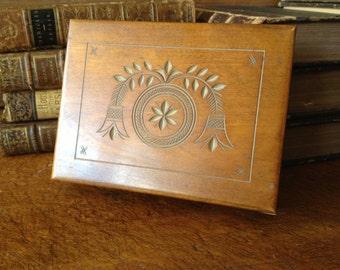 Rustic Wood Trinket Box, Jewelry Cigar Card Box, Handcarved Design