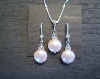 Swarovski Crystal Pink Pearl Earrings Set/Bridesmaid Jewelry/ Bridal Jewelry/Bridesmaid Earrings/Rosaline Pink Pearl Jewelry/Pearl Necklace