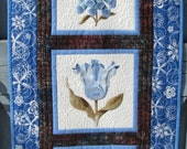 Spring Summer Wall Hanging Door Decoration Table Runner Blue Flowers Floral Housewarming Hostess Gift Mothers Day