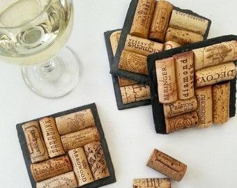 4 Sonoma & Napa Valley Wine Cork Slate Coasters - Wine Lover, Winery, Vineyard, Christmas, Wedding