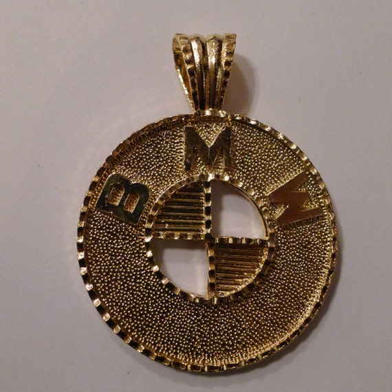 Deadstock BMW Medallion 80's GOLD Necklace Pendant Sports