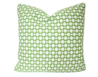 Designer Schumacher Betwixt Pillow Cover in Leaf Green with Ivory Piping