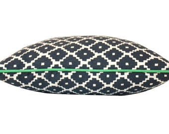 Blue Ziggurat Schumacher Pillow Cover- Double Sided With Green Piping