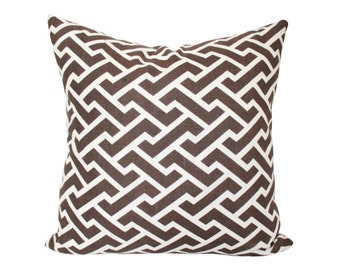 Quadrille Aga Reverse Pillow Cover in Chocolate Brown