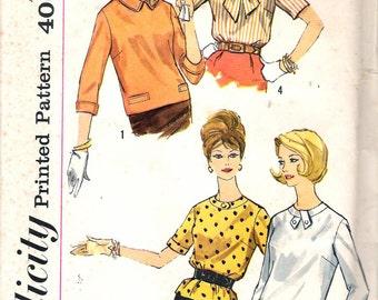 "Vintage 1960's Simplicity 3674 Blouse & Overblouse Sewing Pattern Size 14 Bust 34"" UNCUT"