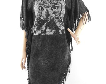 Owl Tshirt Maxi Dress Owl Shirt  Owl Tank women T Shirt bleached T Shirt Black Shirt Screen Print (Measurements - fits great from S - M)