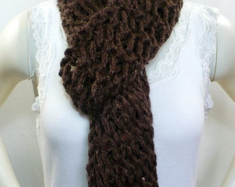 Chocolate Brown Scarf: Chunky Knit Scarf with Sequins, Fringed Scarf, Sequined Scarf, Hand Knit Scarf, Ready to Ship