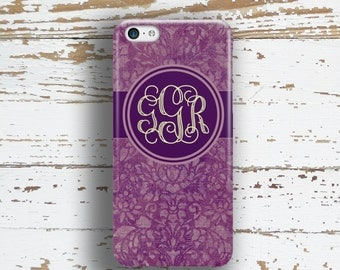 Personalized phone case, Purple Floral Pretty, Fits iPhone 4/4s 5/5s 6/6s 7 8 5c SE X and Plus, Fall fashion accessory, Damask gift (9902)