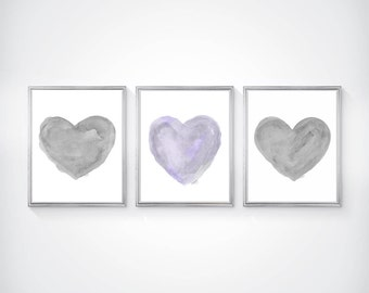 Lavender and Gray Art, Set of 3 - 8x10 Watercolor Prints, Purple and Gray Wall Art, Lavender Nursery Decor, Purple and Gray Nursery Art
