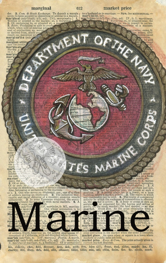 Items Similar To Print Marine Emblem Mixed Media Drawing