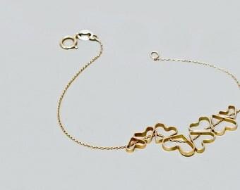 Heart charms bracelet, gold heart bracelet, love bracelet, delicate bracelet,everyday bracelet, charm Bracelets,  heart bracelet