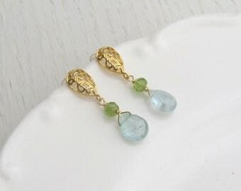 Aquamarine drop earrings, Aquamarine and peridot jewelry, Gold filigree earrings