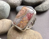 Large crazy lace agate & garnet statement ring, wide sterling silver band with layered patterns,, fits size 10 and a  1/2, big stone