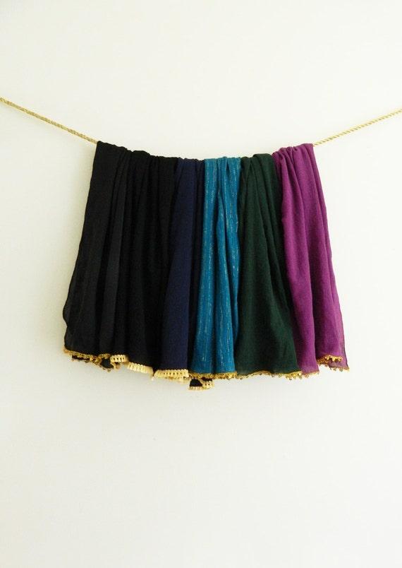 Jewel Tone Gauze Scarf with Gold Silk Tassel or Metallic Gold Sequin Trim / Gauze Scarves / Coverup / Pareo / Beach / Sarong / Women's Gift