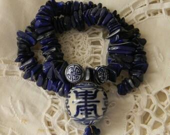 Chinese ceramic bead pendant w lapis lazuli flat beads necklace , beaded jewelry , lapis necklace , lapis jewelry , ceramic beads jewelry