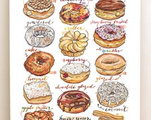 Donuts print. Doughnuts. Illustration. Kitchen decor. Food art. Sweets. Bakery.
