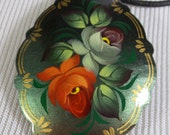 Pendant Russian Hand Painted Vintage Jewelry