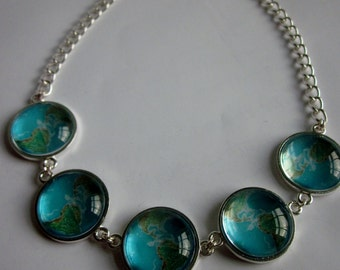 Globe world map picture glass cabochon statement necklace with Swarovski crystal. Maps, nautical, Earth, planet, space.