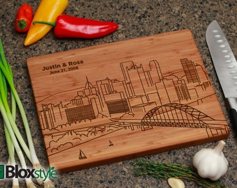 Pittsburgh Skyline Personalized/ Engraved Cutting Board | Personalized Wedding Gift, Pennsylvania Cutting Board,Wedding Gift,City Silhouette