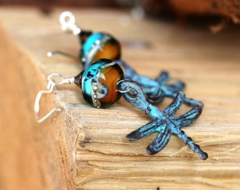 Dragonfly Earrings, Glass Dangle Earrings, Teal and Topaz, Dragonfly Jewelry, Beaded Lampwork Earrings, Nature lover gift, by MayaHoney