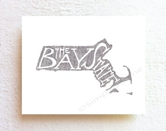 Massachusetts map art, map illustration wall art poster - the bay state - minimalist wall art, typographic print, home decor office decor