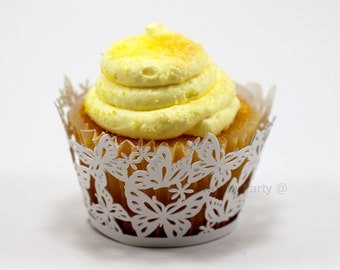Butterfly Lace White Shimmer - Elegant Laser Cut Lace Wedding Cupcake / Muffin  Wrappers - (set of 12)