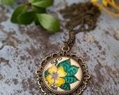 Tropical Plumeria Necklace Flower Art Floral Design Henna Mehndi Vintage Style Hand Drawn Handmade Jewelry Happiness Symbolism Yellow