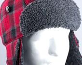 Red Plaid Lumberjack Hat | Winter Hunter Trapper Aviator Hat Cold Weather Hat | Wool & Fleece Ear Flaps | Red Wool Plaid Warm Winter Hat