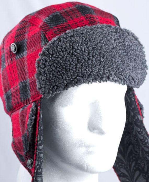 Red Plaid Lumberjack Hat Winter Hunter Trapper Aviator Hat