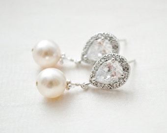 Bridal Earrings, Drop Pearl Earrings, Ivory Pearl Earrings, Wedding Earrings, Bridal Jewelry