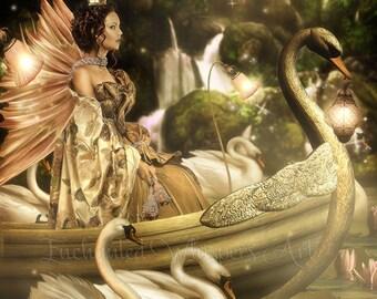 fantasy fairy boat ans swans art print