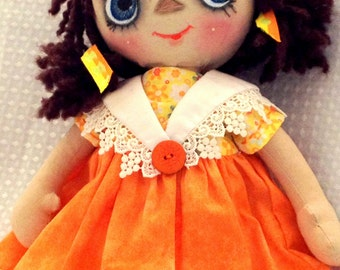 Raggedy Ann style doll -  handmade  - Imagine the joy this cloth doll will give to someone special in your life.