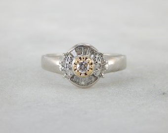 Modernist Platinum and Diamond Engagement Ring with Halo, X84QL4-P