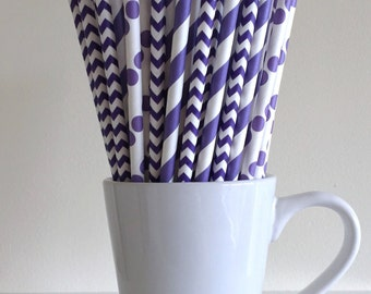 Purple Paper Straws Purple Striped, Chevron, Polka Dot Party Supplies Party Decor Bar Cart Cake Pop Sticks  Party Graduation