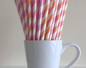 Pink and Peach Striped Paper Straws Party Supplies Party Decor Bar Cart Cake Pop Sticks Mason Jar Straws  Party Graduation
