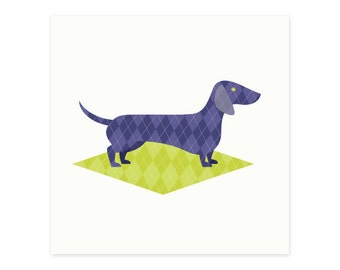 Sweet retro-patterned sausage dog gift cards (set of 6)