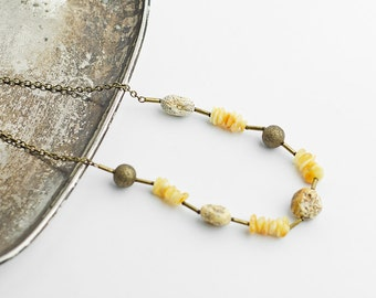 Raw unpolished amber necklace with brass chain