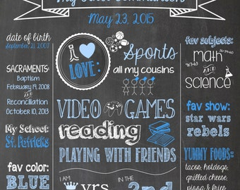 Chalkboard First Communion or Confirmation Poster- Customizable