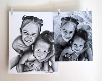 Custom drawing from photo/ custom portrait/pencil drawing/ family pencil portrait/ sisters/ realistic drawing/ black white