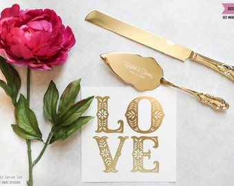 Personalized Gold Wedding Cake Knife And Server Set 2pc Custom Engraved Classic