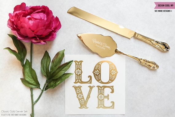 Personalized Gold Wedding Cake Knife and Server Set - (2pc) Custom Engraved Classic Gold Cake Knife and Server - Personalized Wedding Gift