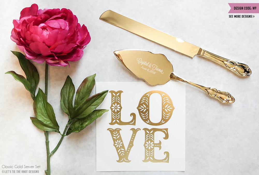 personalized gold wedding cake knife and server set 2pc. Black Bedroom Furniture Sets. Home Design Ideas