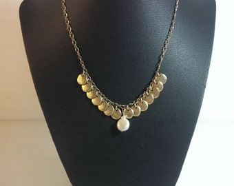 Vintage Golden Chain Necklace With Faux Pearl Centerpiece