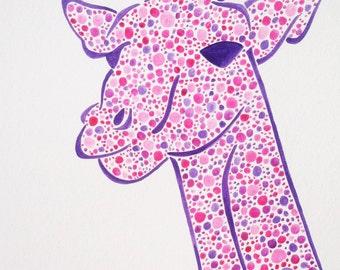 Original Watercolor Giraffe Painting, Giraffe Art, Girls Nursery Art, Baby Girl Art, Pink Giraffe Painting, Child Giraffe Art, Giraffe