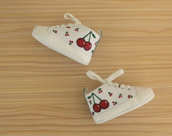 Cherry print infant sized canvas sneakers - Handpainted baby shoes | Baby shower gift
