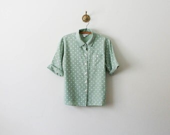 vintage 80s mint polka dot shirt