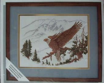Counted Cross Stitch Kit ~ Alpine Eagle Picture ~ Mountains Trees Nature ~ Unopened