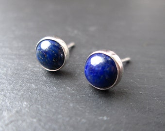 Lapis Lazuli Stud Earrings - Blue Studs, Gemstone Earrings, Blue Stone Studs, Gift Jewellery