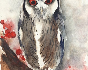 """SALE 50% Was 80.00. Original watercolor  painting owl  wall decor 9x12"""""""