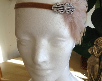 GothamCity Headbands, great gatsby headband, beige feather hadpiece, flapper fascinator Art Deco headband silver Swarovski beige fascinator